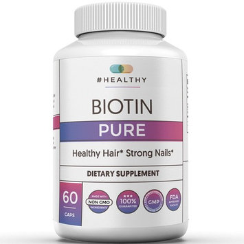 Biotin Hair, Skin and Nail Growth Supplement, Pure, High Potency, Maximum Strength Treatment -High Potency 10000mcg- B7 for Hair Loss and Brittle Nails- Men, Women, All Hair Types- 60 Capsules