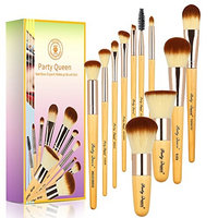 Party Queen Bamboo Makeup Brushes Set 11 Pieces Professional Kabuki Foundation Blending Blush Concealer Eye Face Powder Cosmetics Brush Kit With Box