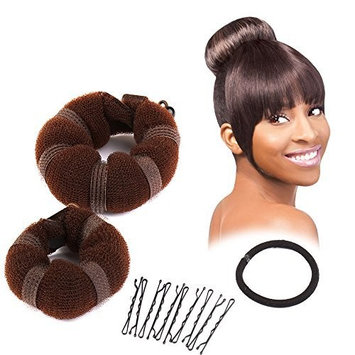 Sent Hair 2 Pieces Donut Hair Bun Maker,Chignon Bun Maker Brown (Small,Large) by Sent Hair