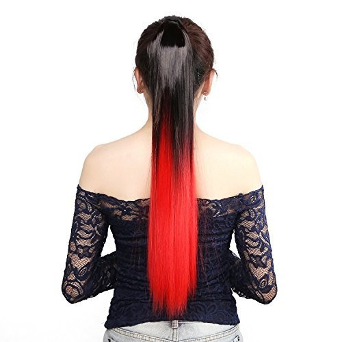 """Neitsi 22"""" 118g Long Straight Women Girl's Hairpiece Wrap Clip Hot Ponytail Color Synthetic Hair Extensions Two Tone"""