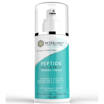 Retseliney Neck Firming & Lifting Cream, Tightening Anti-Wrinkle AHA Lotion with Glycolic Acid, Vitamin C + CoQ10, Can be used as Daily Face Moisturizer for Day/ Night Use for Best Anti-Aging Benefits