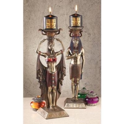 Design Toscano Egyptian Attendants to the Gods Sculptural Candlesticks (Set of 2)