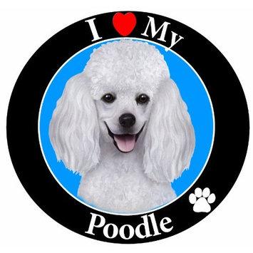 E & S Pets Car Magnet, Poodle, White