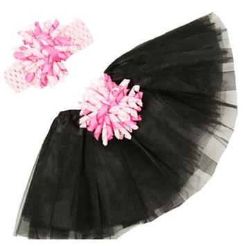 Girls Black Pink Tutu Korker Bow Headband Gift Set 0-8Y