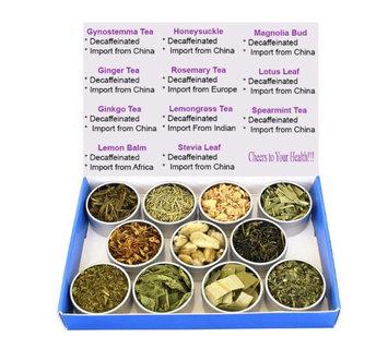 Chinese Tea Culture Tea Sampler - Herbal Tea - Lemon Balm - Ginger - Ginkgo - Gynostemma - Lemongrass - Honeysuckle - Lotus - Mint - Rosemary - Stevia - Decaffeinated - Gift Box - Tea - Loose Tea - Loose Leaf Tea