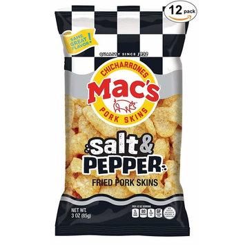 Mac's Salt & Pepper Pork Skins - Low Carb, Keto Friendly Snack - Crunchy Chicharrones/Pork Rinds (3 oz bags, 12ct)
