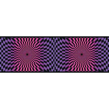 Blue Mountain Wallcoverings Blue Mountain Funky Optics Wallpaper Border, Purple/Pink