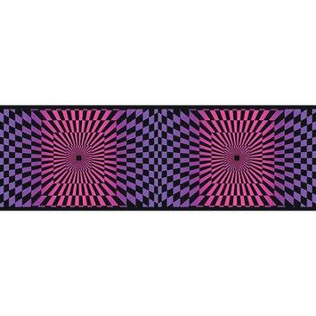 Blue Mountain Wallcoverings Blue Mountain Funky Optics Wallpaper Border, Purple/Pink