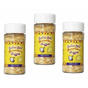 Garlic Gold Organic Nuggets, Roasted Garlic Seasoning bits with Parmesan Cheese, Free of MSG, Keto & Paleo friendly 2.2-Oz Shaker Jar (Pack of 3)