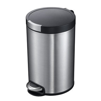 Household Essentials Eko 5L Artistic Round Step Trash Can, Stainless Steel
