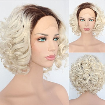 Short Type Brown Ombre Blonde Daily Makeup Synthetic Lace Front Wigs
