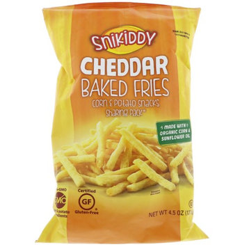 Snikiddy Snacks Snikiddy, Baked Fries, Corn & Potato Snacks, Cheddar, 4.5 oz