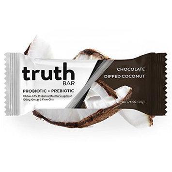 The Truth Bar Llc Truth Bar (Prebiotic + Probiotic) - Low Sugar, High fiber, Gluten Free, Kosher, Vegan, Chocolate Dipped Coconut (12 Pack)