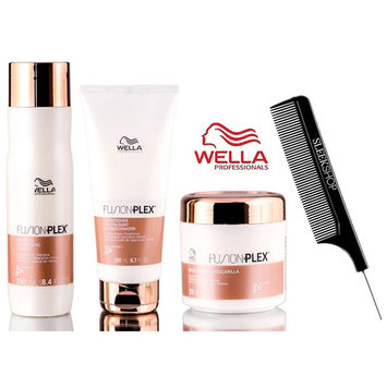 Wella FUSION PLEX Intense Repair Shampoo, Conditioner, & Mask TRIO SET (with Sleek Steel Pin Tail Comb)