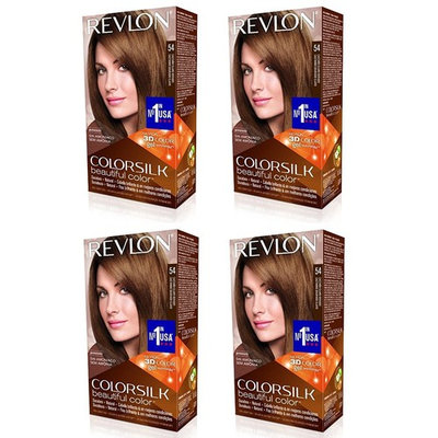 Revlon ColorSilk Hair Color 54 Light Golden Brown 1 Each (Pack of 4) + LA Cross Manicure 74858