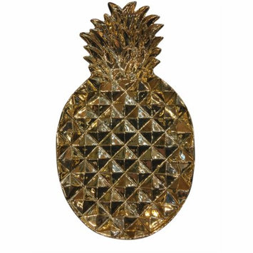 Benzara Pineapple Inspired Patterned Gold Ceramic Plate, 2.5X13.25X19