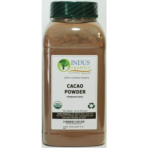 Indus Organics Raw Cacao Powder, 32 Oz Jar (2 Jar 16 Oz), Sulfite Free, No Added Sugar, Premium Grade, High Purity, Freshly Packed
