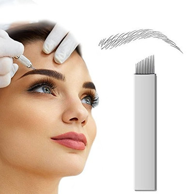 PFT 50pcs 12 Needle Curved Flat Permanent Makeup Needle Manual Eyebrow Tattoo Microblade Sloped 12 Needle