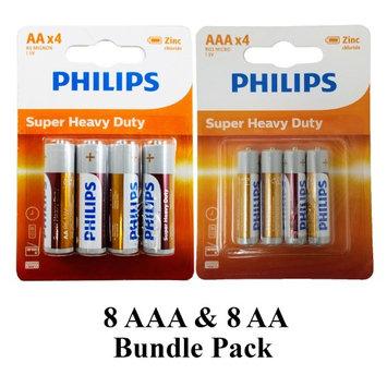 16 Philips AA AAA Zinc Chloride Double A Triple A Batteries 1.5V Heavy Duty