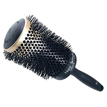 Round Ceramic Ionic Nano Technology XX-Large Hair Brush by Better Beauty Products, XXL/2.5 inch/65mm Barrel with Nylon Bristles, Professional Salon Brush, Black with Metallic G