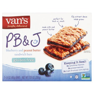 Van's International Foods Van's Simply Delicious PB Blueberry and Peanut Butter Sandwich Bars, 1.4 oz, 6 pack