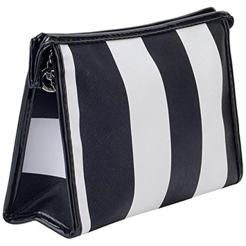 Beauty Make Up Cosmetics and Toiletries PU Bag Case Holder Makeup Tools Nail Care Utensils Organizer Wallet Pouch In Black and White Colored Stripes