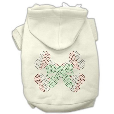 Mirage Pet Products 10-Inch Candy Cane Crossbones Rhinestone Hoodie, Small, Cream