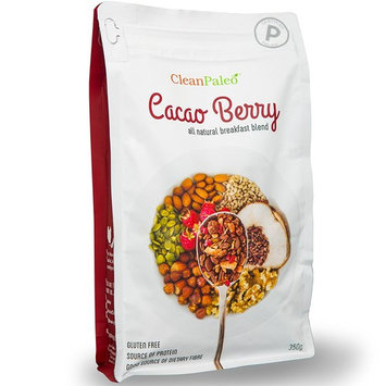 CleanPaleo Cacao Berry Paleo Breakfast Cereal Blend (Grain Free, Gluten Free) Certified Paleo (350g) 7 x 50g Servings Healthy Crunch & Crunchy Low Carb Snack
