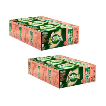 PERRIER Pink Grapefruit Flavored Sparkling Mineral Water, 8.45 fl oz. Slim Cans 30 COUNT (Pack of 2)