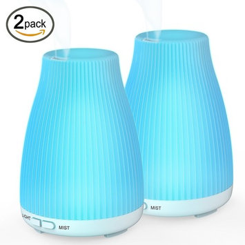 BAXIA TECHNOLOGY Essential Oil Portable Ultrasonic Cool Mist Diffuser Humidifier, 8 LED Lights Waterless Auto Shut-Off Fo Aroma, 2-pack, 100ML 2Pack