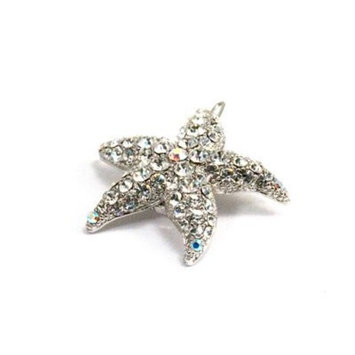 DoubleAccent Hair Jewelry Small Simulated Crystal Starfish Barrette, White by Double Accent Hair Jewelry
