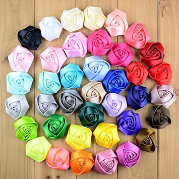 CellElection 39pcs Different Color Handmade Mini Fabric Roses Flowers for DIY Headbands Clips Wedding Flower Accessory (without clips)