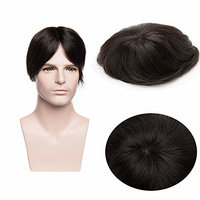 Mono Top Hair Replacement Hairpiece Men's Toupee with Thin PU Fringe Base Indian Remy Human Hair for Men's Wig Free Part Natural Black