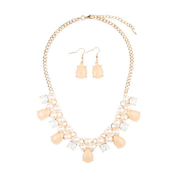 Riah Fashion Women's Teardrop Beaded Statement Necklace and Earrings