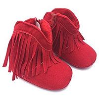 Highdas Newborn Baby Girl Boy Kids Prewalker Solid Fringe Shoes Infant Toddler Soft Soled Anti-slip Boots Booties