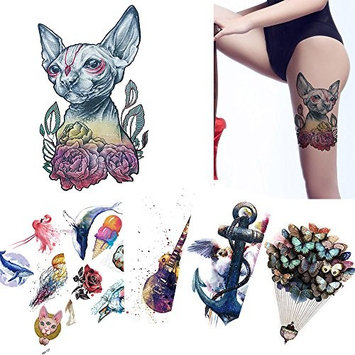 6 Sheets Children Cartoon Pattern Dazzling Temporary Tattoo Sticker for Body Art Anchor Mouse