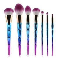 Lhen's Professional Kabuki Brush Set 7 pcs Purple/Blue Cosmetic Tools
