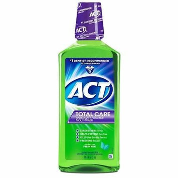 ACT Total Care Anticavity Fluoride Mouthwash Alcohol Free Fresh Mint 33.8 fl oz(pack of 2)