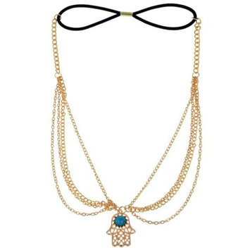 HSF Women's Turquoise Beads Crystal Headpiece Chain Hair Jewelry