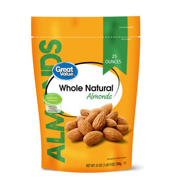 Great Value Natural Whole Almonds, 25 Oz.