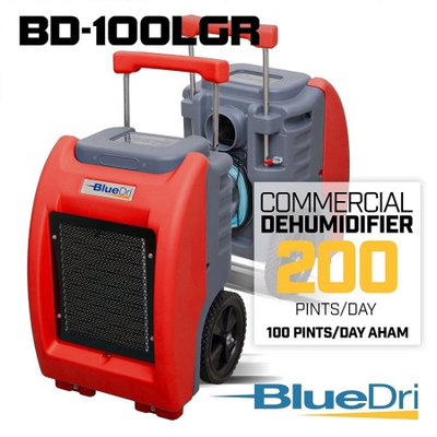 BlueDri BD-100LGR Red Commercial Dehumidifier for Water Damage Restoration Flood Moisture Mold Removal Water Treatment Janitorial