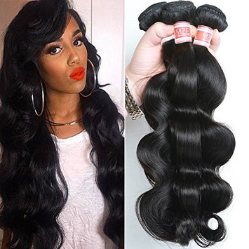 YIZE Hair 7A Brazilian Body Wave Hair Weave 4 Bundles 100% Unprocessed Virgin Human Hair Extensions Black Color 22 24 26 28inch