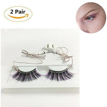 Beautyonline 2 Pair LED Eyelashes Colorful 3D False Eyelashes For Fashion Icon Saloon Pub Club Bar Party Hallowmas Day Style 03