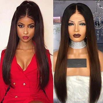 Full Lace Hair Wigs Ombre Brown #2 Color Silky Straight Virgin Human Hair Glueless Lace Front Wig 130% Density with Baby Hair for Black Women by KRN