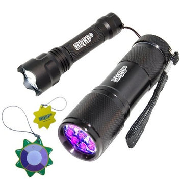 HQRP 9 LED 365nm UV Flashlight for Mineral Hunting and Compact Ultra-light LED Flashlight for Shine the Territory plus HQRP UV Meter (Pack of 2)