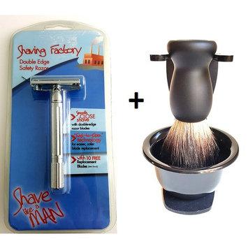 Safety Razor Pure Black Hair Badger Bristle Shaving Brush Stand and Bowl Set