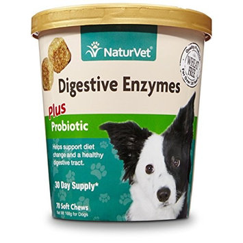 NaturVet Digestive Enzymes Plus Probiotic for Dogs, Soft Chews, Made in USA