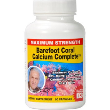 Effihealth Consumer Products Barefoot Coral Calcium Complete 1500 mg-90 Capsules. Original Barefoot Brand. Ecologically Harvested Coral Calcium From Okinawa. 2:1 Ratio Calcium to Magnesium. Plus Vitamin D3!