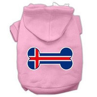 Mirage Pet Products Bone Shaped Iceland Flag Screen Print Pet Hoodies Light Pink Size XXXL(20)