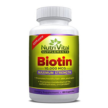 NutriVital Supplements Biotin 10000 MCG Maximum Strength